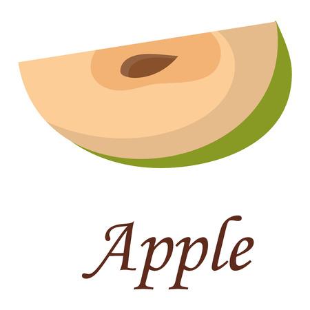 apple slice: Slice of fresh apple isolated on white background fruit. Apple slice vector citrus food, apple juicy organic sweet vitamin. Tasty healthy cut exotic fruit.