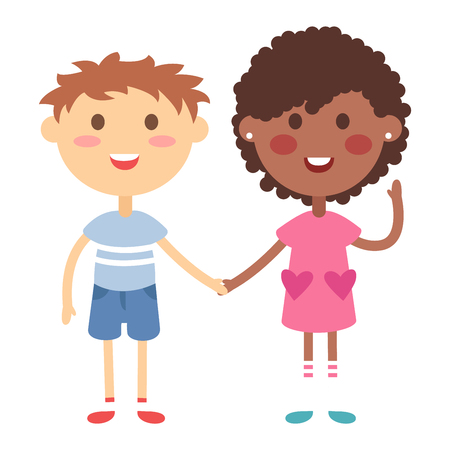 kids holding hands: Kids holding hands together. Boy and girl kids holding hands vector character. Kids holding hands cute little boy and girl.