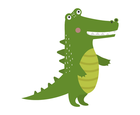 scaly: Cartoon green crocodile reptile flat vector illustration. and australian wildlife green crocodile reptile danger predator flat vector. Cartoon green crocodile reptile cartoon flat vector illustration