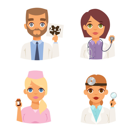 specialist: Group of doctors and nurses and medical staff people. Medical team doctors specialists concept in flat design people characters. Doctors specialist uniform surgeon practitioner female vector.