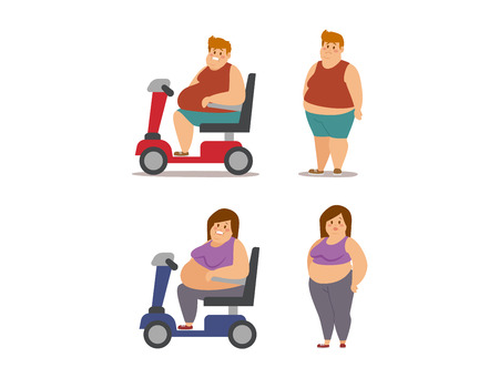 bogie: Fat woman and man cartoon style different stages vector illustration. Fat problems. Health care. Fast food, sport and fat people. Obesity process people illustration. Fat less concept