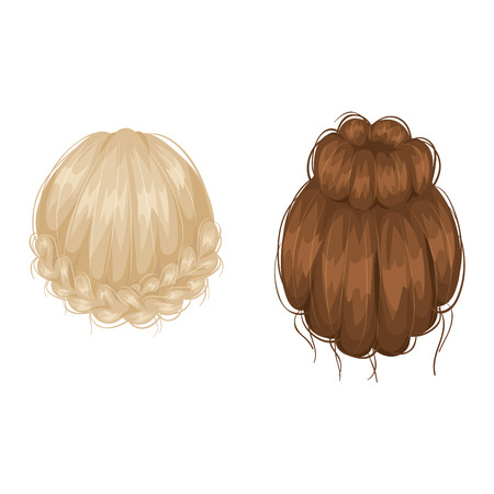 back view: Vector design of beautiful collection of female hairstyle back view.