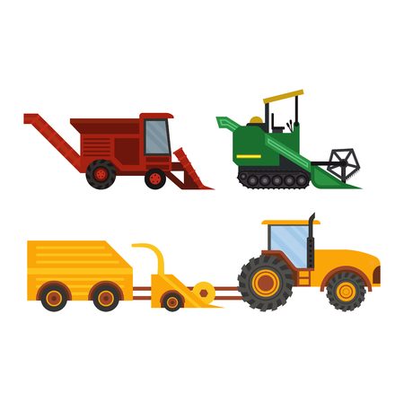 agriculture machinery: Agriculture industrial farm equipment, machinery tractors combines and excavators farm equipment, collection machinery vector.