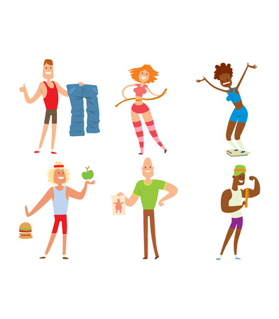 losing: Beauty fitness people weight loss vector cartoon illustration. Weight loss, weight loop concept. Thin people diet, gym, measure. Losing weight, good figure, strong body. Weight lose vector people