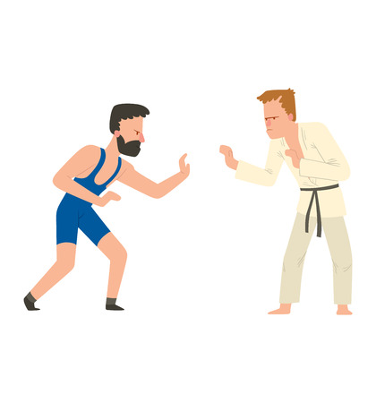 karate fighter: Fighter karate man kick punch grab throw body vector. Athlete training martial karate fighter people symbol character. Fighter man strong gym kick body. Fight karate people Illustration