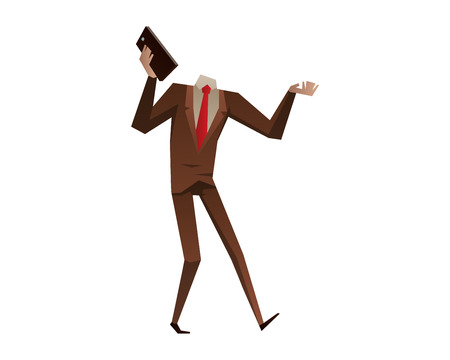 delay: Businessman with no head vector illustration. Time business concept. Businessman clock time run and delay. Business man time concept situation, time concept, Stil office life, no head man Illustration