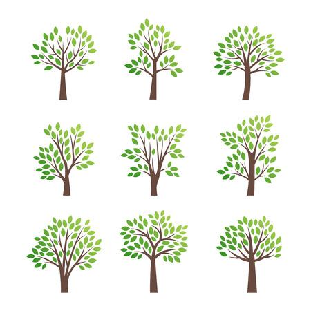 Icono de árbol de vector estilizado. Vector silueta plana árbol aislado en blanco. Forma de árbol y símbolo de foem.