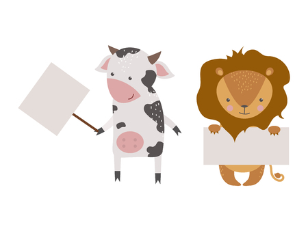 backgrund: Cute animals vector character isolated on white backgrund. Pretty kids style wild and farm pet animals character isolated. Some animal holding paper banner