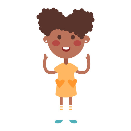 afro girl: Cute afro baby kid girl character vector. Cute girl beautiful fashion young female. Cute afro girl schoolgirl isolayted on white