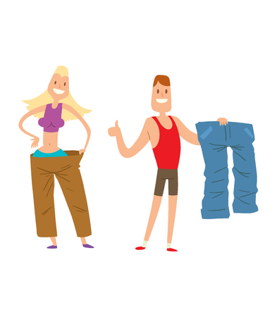 美容フィットネス人々 の重量損失ベクトル漫画イラスト。体重減少、体重ループの概念。薄い人ダイエット、ジム、メジャー。重量、いい、強靭な肉体を失います。ベクター人を失うの重量 写真素材 - 63349806