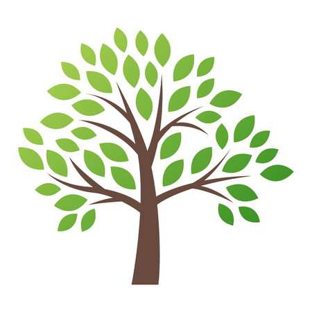 Stylized vector tree logo icon. Vector tree flat silhouette isolated on white. Tree shape and foem symbol. Green tree vector icon logo isolated. Natural eco product logo