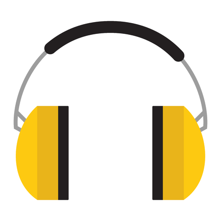 ear muffs: Protective ear muffs isolated on a white background. Ear protection, headphones icon. Headphones yellow ear protection. Illustration