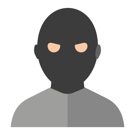 criminal: Silhouette of criminal man in hood or criminal hooligan over dark concrete background. Flat criminal man character vector icon