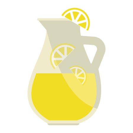 liquid summer: Jar of tasty fresh lemonade with lemons in background. Lemonade jar summer food cold citrus healthy beverage. Yellow refreshment slice ice lemonade jar sweet homemade liquid vector.
