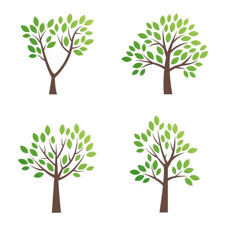 Gestileerde vector boom pictogram. Vectorboom vlak silhouet dat op wit wordt geïsoleerd. Boomvorm en foem-symbool. Groene boom vector pictogram geïsoleerd. Natuurlijk eco-product