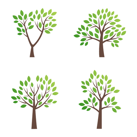 Stylized vector tree icon. Vector tree flat silhouette isolated on white. Tree shape and foem symbol. Green tree vector icon isolated. Natural eco product