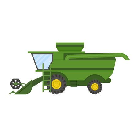 tractor boerderij voertuig vector illustratie op een witte achtergrond. Bouwnijverheid boerderij oogstmachines apparatuur tractoren