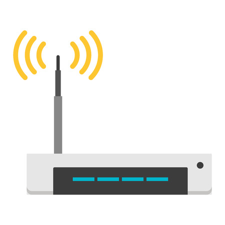 modem: Wifi modem router isolated on white. Router detailed flat icon graphic illustration. Flat wi-fi modem technology. Flat wi-fi modem digital design. Illustration