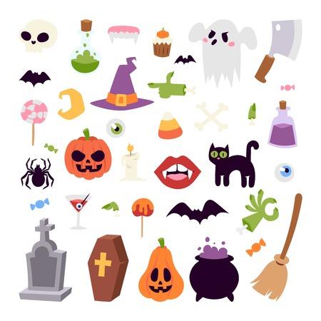 Halloween symbole bez szwu deseń wektora kolekcji jesienią strachu creepy tradycyjnego znaku. Halloween bez szwu deseń wakacje bat zestaw horroru. Święto duch upiorny października halloween symbole. Ilustracja