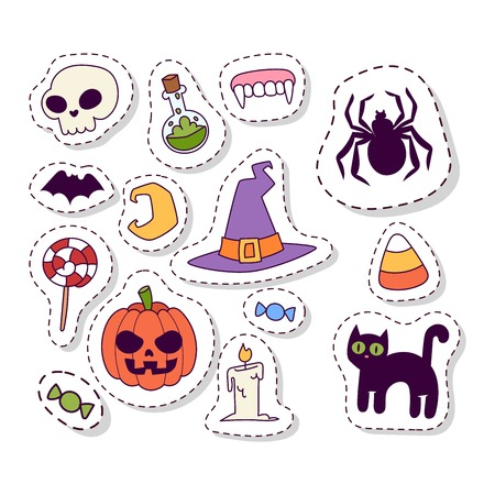 halloween symbols: Halloween symbols seamless pattern vector collection autumn fear creepy traditional sign. Halloween seamless pattern holiday bat horror design set. Celebration ghost spooky october halloween symbols.