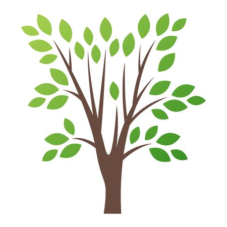 Estilizada del árbol del vector icono del logotipo. silueta plana del árbol del vector aislado en blanco. La forma del árbol y el símbolo foem. icono insignia del vector del árbol verde. logotipo de un producto natural, ecológico Logos