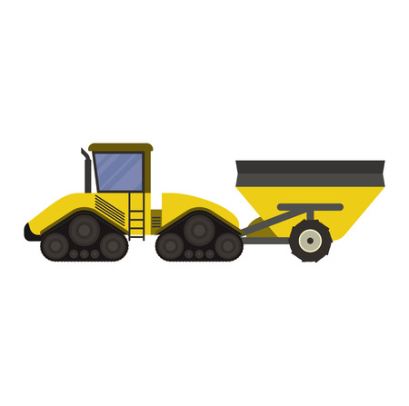 farm equipment: Vehicle tractor farm vector illustration isolated on white background. Construction industry farm harvesting machinery equipment tractors