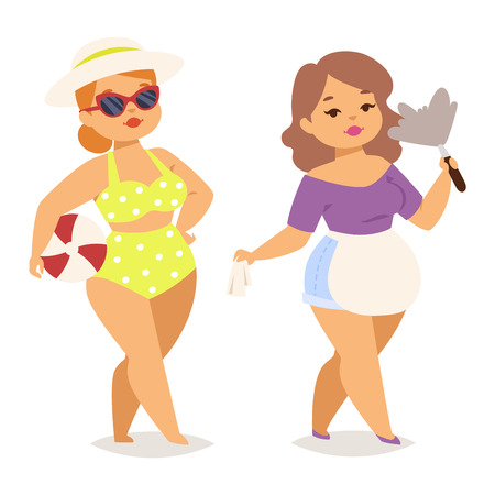 Fat people vector girl flat character illustration. Body symbol people fat girl. Healthy lifestyle person fat girl human large body. Illustration