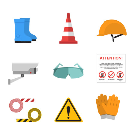 dangerous work: Safety work icons flat style. Safety icons vector illustration. Safety icons isolated on white background. Safety work icons. Safety symbols elements collection. Safety at work vector icons collection