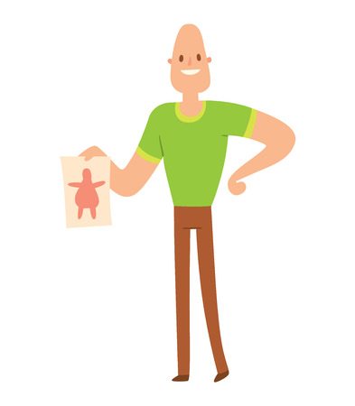 weight loss man: Beauty fitness man weight loss vector cartoon illustration. Weight loss, weight loop concept. Thin people diet, gym, measure. Losing weight, good figure, strong body. Weight lose vector man