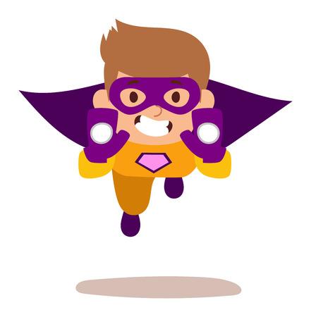 スーパー ヒーローの子供少年漫画ベクトル illustrationt。スーパーの子供のイラスト。スーパー ヒーローの子供男の子遊び、フライ成功人々 概念ベク