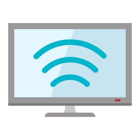 lcd display: Lcd tv monitor display icon and tv computer antenna icon monitor vector. Electronics computer tv monitor. Tv icon technology media flat design style vector illustration Illustration