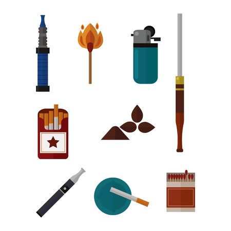 habit: Smoking silhouette vector icons collection. Tabacco tools, sigarette, cigars, habit icons. Tabacco smoker tools icons vector. Cigars vector set, tabacco, nicotine. Health problems