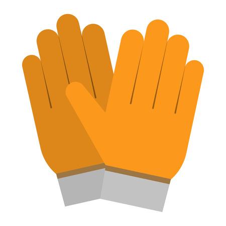 gele handschoenen, handbescherming geïsoleerd op een witte achtergrond. Handschoenenveiligheid op witte achtergrond. Handschoenen lederen sportkleding. handbescherming