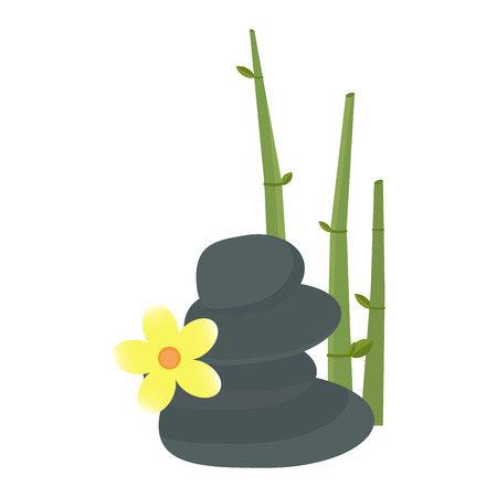 stones with flower: Stone, flower and bamboo and hygiene items for bath spa vector. Bath spa stones aromatherapy organic. Spa stones beauty treatment spa and wellness organic therapy.
