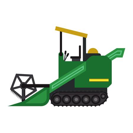 arando: Conjunto de diferentes tipos de vehículos agrícolas y de la máquina cosechadora, cosechadoras y excavadoras. Conjunto del icono de la máquina cosechadora agrícola con accesorios para arar, segar, siembra y cosecha.