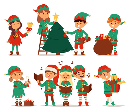 Santa Claus kids cartoon elf helpers vector illustration. Santa Claus elf helpers children. Santa helpers traditional costume. Santa family elfs isolated on background. Santa Claus elf christmas kids Vectores