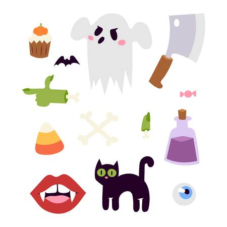 halloween symbols: Halloween symbols vector collection autumn fear creepy traditional sign. Halloween holiday bat horror design set. Celebration ghost spooky october halloween symbols.