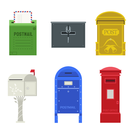 Simple Postbox With Post In Flat Vector Style Royalty Free Cliparts