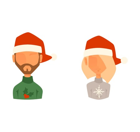 Santa Claus kids cartoon elf helpers vector illustration. Santa Claus elf helpers children. Santa helpers traditional costume. Santa family elfs isolated on background. Santa Claus elf, christmas kid
