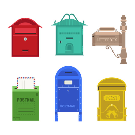 mailboxes: Beautiful rural curbside open and closed mailboxes with semaphore flag vector illustration. Traditional communication empty postage post mail box. Letter message post mail box service correspondence.