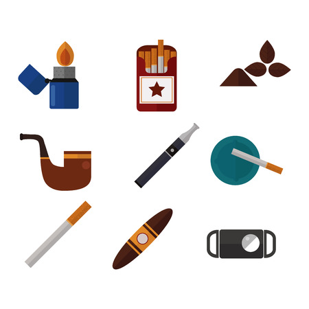 tabacco: Smoking silhouette vector icons collection. Tabacco tools, sigarette, cigars, habit icons. Tabacco smoker tools icons vector. Cigars vector set, tabacco, nicotine. Health problems