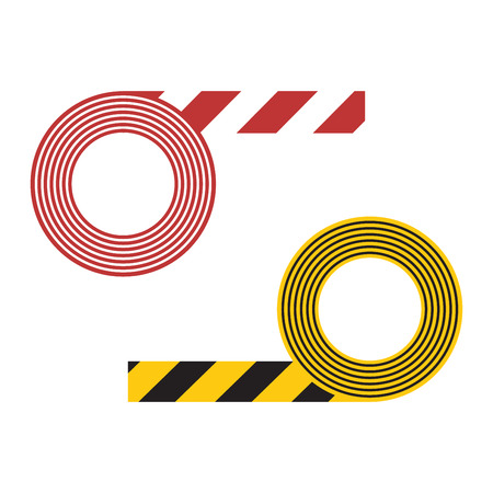 hazard stripes: Caution striped tape and danger ribbon sign white background vector illustration. Striped tape warning safety danger sign line vector. Barricade stripe police crime accident zone striped tape.
