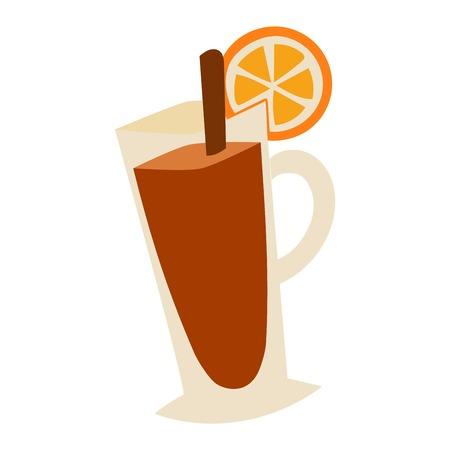 lemon slice: Tea cup with lemon slice cartoon vector illustration. Cup of brown tea on white background. Tea cup with lemon slice. Cup of hot tea, cup of iced tea with lemon and straw. Mulled wine flat vector