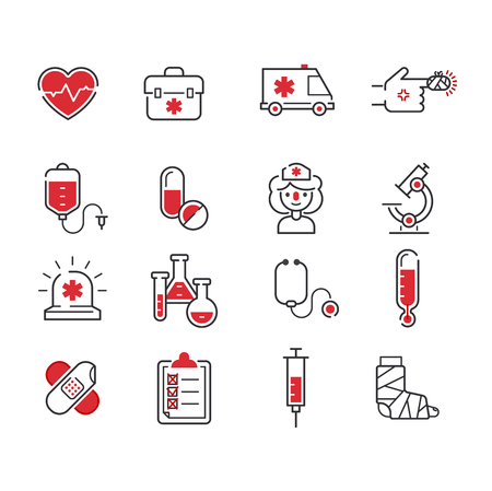 Medical icons set over white background. Set care heart ambulance hospital, emergency medical icons. Vector syringe pharmacy clinic web medical icons. Human laboratory chemical microscope symbols. Иллюстрация