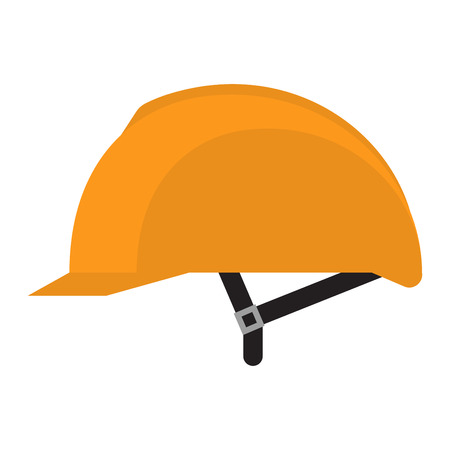 head protection: Yellow helmet isolated on white background Yellow safety helmet on white background. Head protection hard hat isolated on white. Head helmet protection Illustration