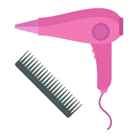 secador de pelo: secador de pelo herramienta de la moda y el cuidado secador de pelo eléctrico símbolo barbero vectorial. herramienta de secador de pelo y accesorios para crear iconos de vectores plana cabello hermoso.