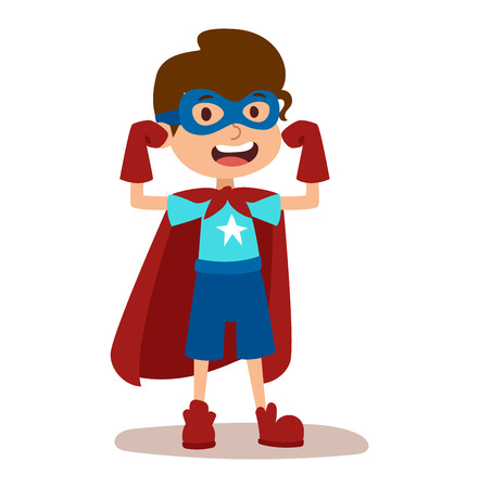 Superhero kid boy cartoon vector illustrationt. Super children illustration. Super hero kid boy play, fly success people concept vector illustration