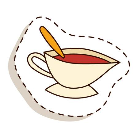tea hot drink: Tea cup vector illustration. Hot cup with tea and leaves. Tea healthy drink. Fresh tea fresh hot drink. Isolated tea cup Illustration