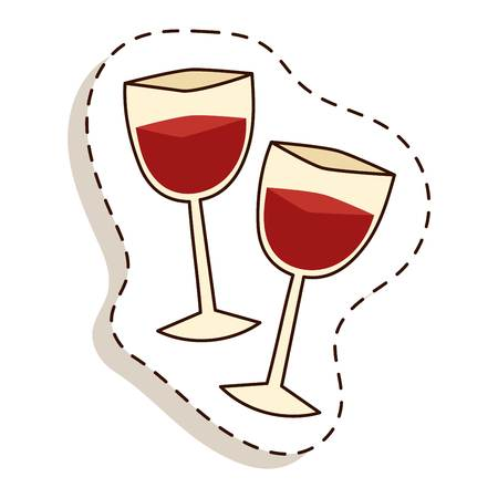 cabernet: Red wine in a glass isolated on white background and glass of wine vector drink. Glass of red wine and glass of wine alcohol beverage celebration grape merlot. Gourmet restaurant party alcohol liquor. Illustration