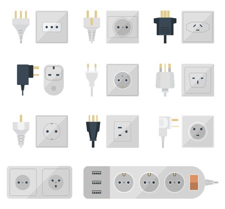 electrical appliance: Electric outlet illustration on white background. Energy socket electrical outlets plugs european appliance interior icon. Wire cable cord connection electrical outlets plugs double american.